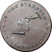 USA Kentucky Cent 1793 KM# Tn70.5 Kentucky Tokens * UNANIMITY IS THE STRENGTH OF SOCIETY OUR CAUSE IS JUST coin obverse