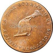 USA Kentucky Cent 1793 KM# Tn70.3 Kentucky Tokens UNANIMITY IS THE STRENGTH OF SOCIETY OUR CAUSE IS JUST coin obverse