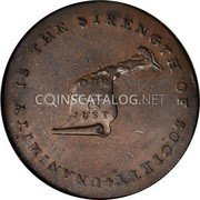 USA Kentucky Cent 1793 KM# Tn70.1 Kentucky Tokens * UNANIMITY IS THE STRENGTH OF SOCIETY OUR CAUSE IS JUST coin obverse