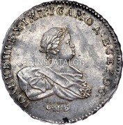 Russia Rouble 1741 СПБ Goldberg Auction 46, 5-08, MS-64 realized $52,500. KM# 207.2 EMPIRE STANDARD COINAGE coin obverse