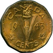 Canada V Cents (George VI Victory) KM# 40 V CENTS CANADA DATE T.S coin reverse