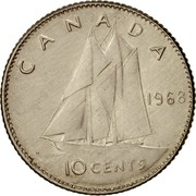 Canada 10 Cents Bluenose sailing 1968 KM# 72a CANADA 1968 10 CENTS coin reverse