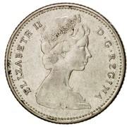 Canada 10 Cents Elizabeth II 2nd portrait 1965 KM# 61 ELIZABETH II D ∙ G ∙ REGINA coin obverse