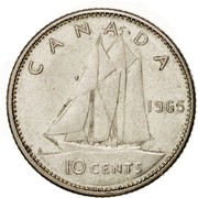 Canada 10 Cents Elizabeth II 2nd portrait 1965 KM# 61 CANADA 1965 H 10 CENTS coin reverse