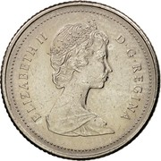 Canada 10 Cents Elizabeth II 2nd portrait 1984 KM# 77.2 ELIZABETH II D∙G∙REGINA coin obverse