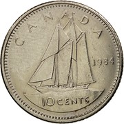 Canada 10 Cents Elizabeth II 2nd portrait 1984 KM# 77.2 CANADA H 10 CENTS coin reverse