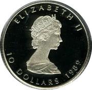 Canada 10 Dollars (Maple Leaf) KM# 165 ELIZABETH II 10 DOLLARS 1989 coin obverse