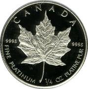 Canada 10 Dollars (Maple Leaf) KM# 165 CANADA 9995 9995 FINE PLATINUM 1/4 OZ PLATINE PUR coin reverse