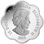 Canada 15 Dollars Lunar Lotus - Year of the Sheep 2015 Proof KM# 1816 15 DOLLARS CANADA ELIZABETH II 2015 coin obverse