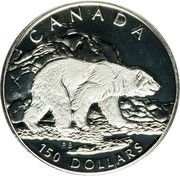 Canada 150 Dollars Polar bear 1990 Proof; in sets only KM# 176 CANADA 150 DOLLARS RB coin reverse