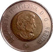Canada 2 Dollars Polar Bear 2006 (ml) KM# 836 ELIZABETH II 1996-2006 D ∙ G ∙ REGINA coin obverse