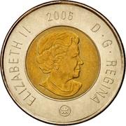 Canada 2 Dollars Toonie 2006 (ml) KM# 837 ELIZABETH II D ∙ G ∙ REGINA DATE coin obverse