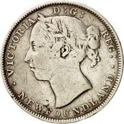 Canada 20 Cents Victoria 1890 KM# 4 VICTORIA D : G : REG: ∙NEWFOUNDLAND coin obverse