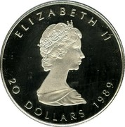Canada 20 Dollars Elizabeth II 2nd Portrait 1989 KM# 166 ELIZABETH II 20 DOLLARS 1989 coin obverse