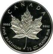Canada 20 Dollars Elizabeth II 2nd Portrait 1989 KM# 166 CANADA 9995 9995 FINE PLATINUM 1/4 OZ PLATINE PUR coin reverse