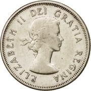 Canada 25 Cents Elizabeth II (1st portrait) 1959 KM# 52 ELIZABETH II DEI GRATIA REGINA coin obverse