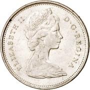 Canada 25 Cents Elizabeth II 2nd portrait 1968 KM# 62a ELIZABETH II D ∙ G ∙ REGINA coin obverse