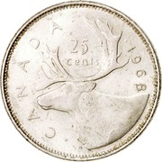 Canada 25 Cents Elizabeth II 2nd portrait 1968 KM# 62a CANADA 1968 25 CENTS coin reverse