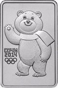 Russia 3 Roubles Sochi 2014 Olympic Mascots - The Bear 2012 Y# 1505 СОЧИ 2014 coin reverse