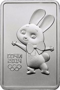 Russia 3 Roubles Sochi 2014 Olympic Mascots - The Hare 2013 Y# 1502 СОЧИ 2014 coin reverse