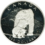 Canada 300 Dollars Polar bear 1990 Proof; in sets only KM# 177 CANADA 300 DOLLARS RB coin reverse