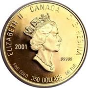 Canada 350 Dollars Nova Scotia Mayflower 2001 Proof KM# 433 ELIZABETH II CANADA D· G· REGINA 2001 .99999 FINE GOLD 350 DOLLARS OR PUR coin obverse