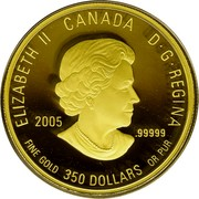 Canada 350 Dollars Western Red Lily 2005 Proof KM# 601 ELIZABETH IICANADAD · G · REGINA 2005 .99999 FINE GOLD 350 DOLLARS OR PUR coin obverse
