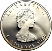 Canada 5 Dollars Elizabeth II 2nd Portrait 1989 Proof KM# 163 ELIZABETH II 5 DOLLARS coin obverse