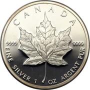 Canada 5 Dollars Elizabeth II 2nd Portrait 1989 Proof KM# 163 CANADA 9999 9999 FINE SILVER 1 OZ ARGENT PUR coin reverse