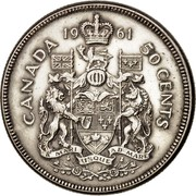 Canada 50 Cents Elizabeth II 1st portrait 1961 KM# 56 CANADA 50 CENTS coin reverse