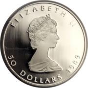 Canada 50 Dollars Maple Leaf 1989 Proof KM# 167 ELIZABETH II 50 DOLLARS 1989 coin obverse