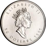 Canada 50 Dollars Maple Leaf 1991 KM# 195 ELIZABETH II 50 DOLLARS 1991 coin obverse