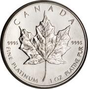 Canada 50 Dollars Maple Leaf 1991 KM# 195 CANADA 9995 9995 FINE PLATINUM 1 OZ PLATINE PUR coin reverse