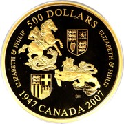 Canada 500 Dollars Elizabeth II Wedding 2007 KM# 710 ELIZABETH & PHILIP 500 DOLLARS ELIZABETH & PHILIP SH 1947 CANADA 2007 coin reverse