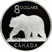 Canada 8 Dollars Grizzly Bear 2004 Proof KM# 515 8 DOLLARS CANADA coin reverse