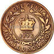 Canada Large Cent Victoria 1876 H KM# 1 ONE CENT NEWFOUNDLAND coin reverse