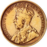 Canada One Cent George V 1917 C KM# 16 GEORGIVS V DEI GRA: REX ET IND:IMP: coin obverse