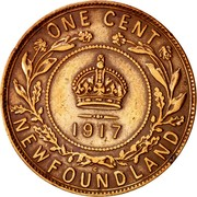 Canada One Cent George V 1917 C KM# 16 ONE CENT NEWFOUNDLAND coin reverse