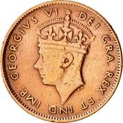 Canada One Cent George VI 1943 C KM# 18 GEORGIUS VI DEI GRA. REX ET IND. IMP. P.M. coin obverse