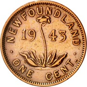Canada One Cent George VI 1943 C KM# 18 NEWFOUNDLAND ONE CENT coin reverse
