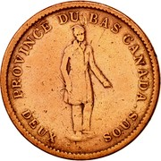 Canada One Penny City Bank 1837 KM# Tn10 PROVINCE DU BAS CANADA. DEUX SOUS coin obverse