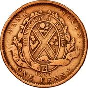 Canada One Penny City Bank 1837 KM# Tn10 BANK TOKEN CONCORDIA SALUS CITY BANK 1837 ONE PENNY coin reverse