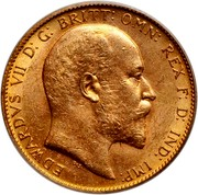 Canada Sovereign (Edward VII) KM# 14 EDWARDVS VII D: G: BRITT: OMN: REX F: D: IND: IMP: DeS. coin obverse