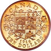 Canada Ten Dollars George V 1914 KM# 27 CANADA DATE TEN DOLLARS coin reverse