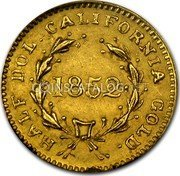 USA 1/2 Dollar (Round) Small size Gold Coins HALF DOL. CALIFORNIA GOLD. 1852 coin reverse