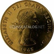 UK 1 Crown (Death of Prime Minister Winston Churchill) ELIZABETH II DEI GRATIA REGINA F D 1965 coin obverse
