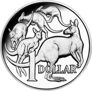 Australia 1 Dollar 30th Anniversary of the 1 Dollar Coin: Mob of Roos 2014 Proof 1 DOLLAR coin reverse