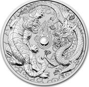 Australia 1 Dollar Dragon & Tiger 2018 BU  coin reverse