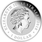 Australia 1 Dollars Bird of Paradise 2018 ELIZABETH II AUSTRALIA 2018 100 DOLLARS coin obverse