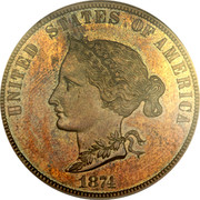 USA 10 Dollars Bickford Eagle Pattern 1874  UNITED STATES OF AMERICA 1874 coin obverse